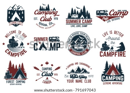 Summer camp. Concept for shirt or logo, print, stamp or tee. Vintage typography design with rv trailer, camping tent, campfire, bear, man with guitar and forest silhouette.