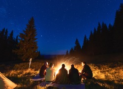 Summer camping under stars. Back view of group of five people, men and woman sitting near bright bonfire, tourist tent under dark night sky with sparkling stars. Concept of tourism, evening camping.