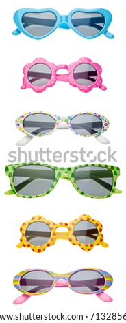 Summer Child Size Sunglasses Isolated on White with a Clipping Path.