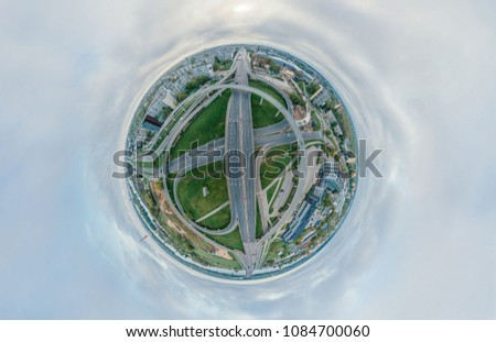 Summer City Planet. Bridge roads in Riga town 360 VR Drone picture for Virtual reality, Panorama
