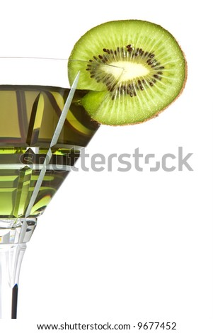 Summer cocktail decorated with a slice of kiwi
