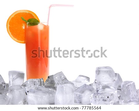 Summer cocktail with ice cubes