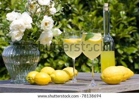 Summer cocktail with lemons served in the garden