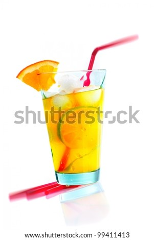 Summer cocktail with orange and lime