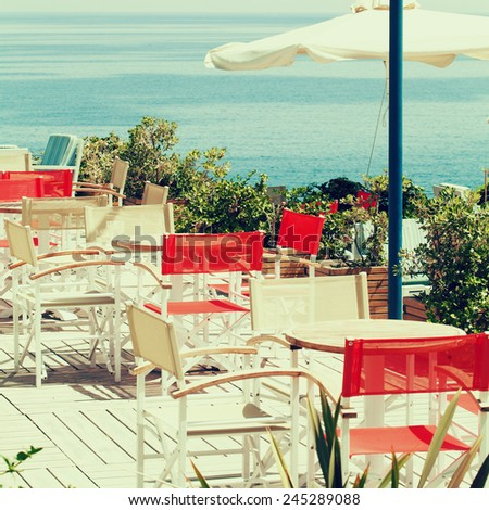 Summer coffee shop by the sea, impressions of Greece
