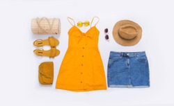 Summer collage with female hat ,sunglasses ,skirt jeans,hat, shoes,handbag isolated
