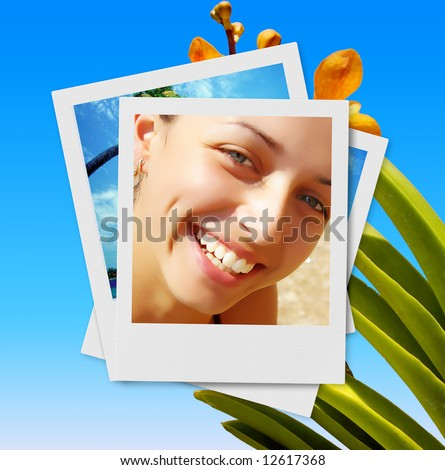 summer collage with smiling girl