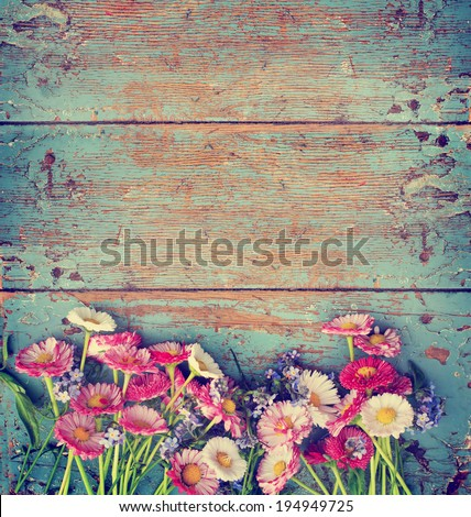 Summer colorful flowers on vintage wooden background