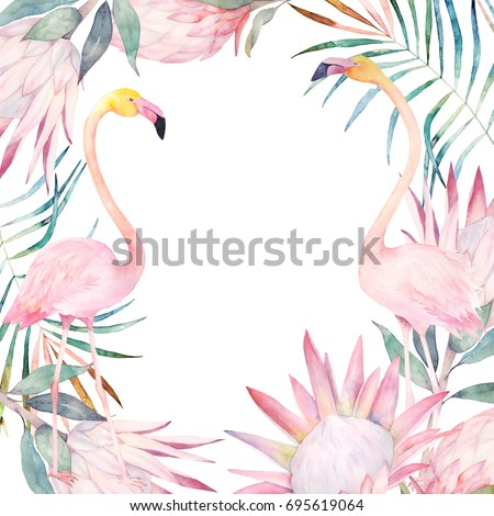 Summer colorful frame with flamingo, palm leaves and flowers. Watercolor hand drawn illustration