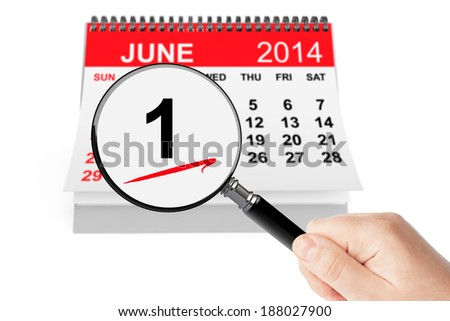 Summer Concept. 1 june 2014 calendar with magnifier on a white background #188027900
