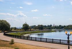 Summer day. Volga embankment is the pearl of Yaroslavl. Park on the Arrow