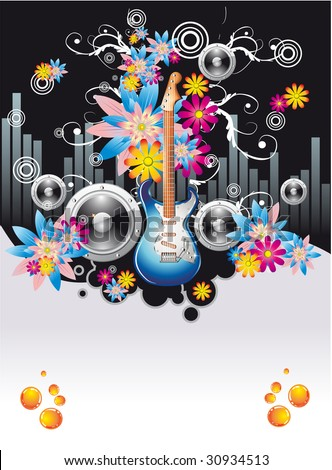Summer Disco Music Night Event Background with flowers motive