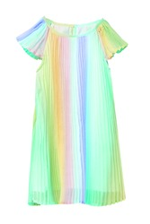 Summer dress isolated. Closeup of a beautiful light pastel rainbow colored baby girl dress isolated on a white background. Children spring fashion. Macro.