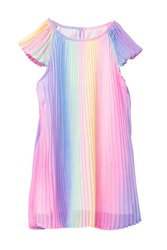 Summer dress isolated. Closeup of a beautiful pastel rainbow colored baby girl dress isolated on a white background. Children spring fashion. Macro.