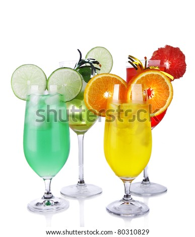 Summer drinks isolated on white background