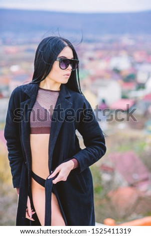 summer fashion beauty. Spa salon. good morning. Sky. relax outdoor. Vacation and weekend. sensual girl in terry bathrobe and sunglasses. sexy woman with fit body. seducing you. #1525411319