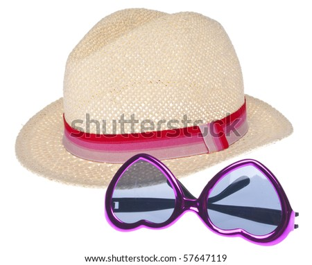 Summer Fashion Concept with a Trendy Hat and Sunglasses Isolated on White.