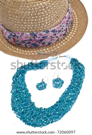 Summer Fashion Hat and Jewelry Concept in Vibrant Colors.