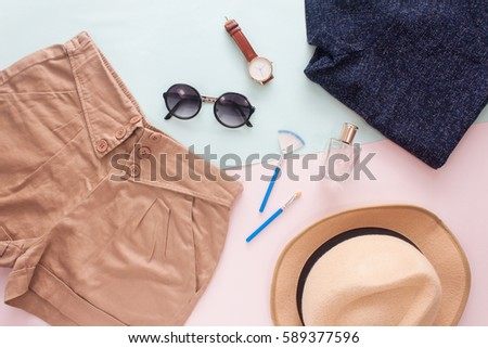 Summer Female Fashion Outfit with Brown Pants and Make Up Accesories