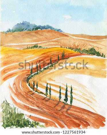 Summer fields. Watercolor painting. Tuscan landscape Nature, hand drawn detailed illustration