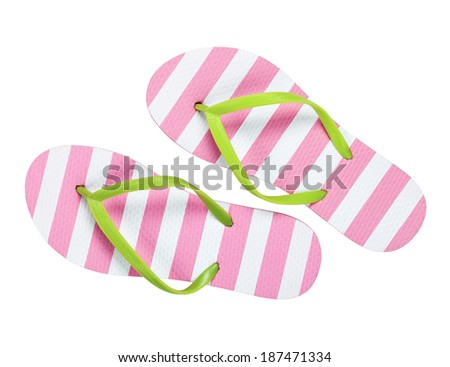 Summer flip flops isolated on white background Top view