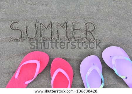 Summer flip flops on the beach.