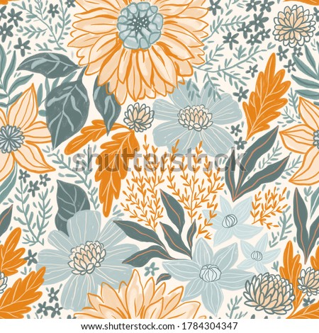 Summer floral bouquet seamless pattern in pastel orange and blue colors. Illustrated floral texture for vintage fabric design. Fashionable repeated background.