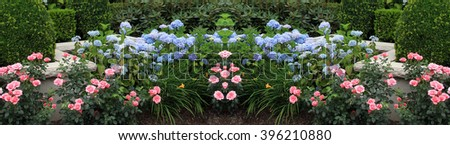 Summer flower bed with roses and hydrangeas. This image is seamless and can be used to create an endless border. #396210880