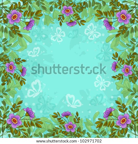 Summer flowers, lives and butterflies silhouettes on background of blue sky