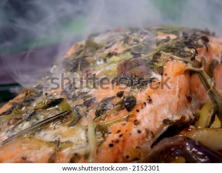 Summer food, rose colored fish steak in a wine marinade macro closeup