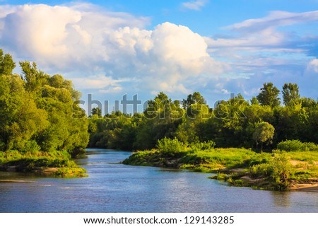 Summer Forest River With Reflection Of The Coast - stock photo