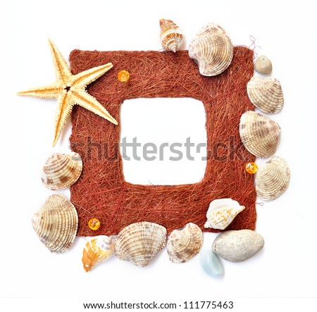Summer frame border decorated with starfish and sea shell