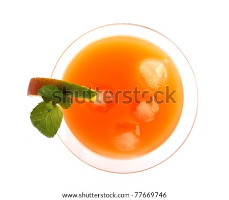 Summer fresh drink, isolated on white background.top view
