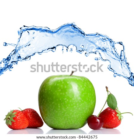 Summer fresh fruits with water splash isolated on white