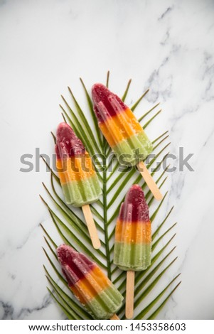 Summer fruit ice lollies on a tropical palm leaf