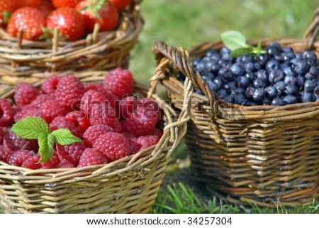 summer fruit, raspberry, blueberry, and strawberry - stock photo