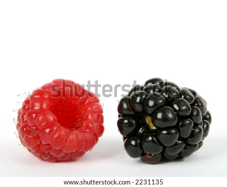 Summer fruit salad ingredient, healthy blackberry and raspberry berries with copy space