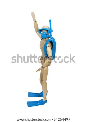Summer fun shown by a model waving and wearing scuba diving equipment - path included