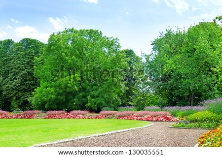 Summer garden with lawn and flower garden