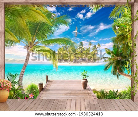 Summer gazebo with access to the blue sea