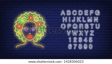 Summer girl neon sign. Woman wearing floral wreath on brick wall background. Vector illustration in neon style for seasonal banners, posters, beauty salon promotion #1428306023