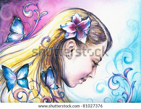 Summer girl with a lily in her hair.Picture I have created with watercolors.
