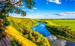 Summer green valley river landscape. River valley panorama. River valley in summer. Summer river valley landscape