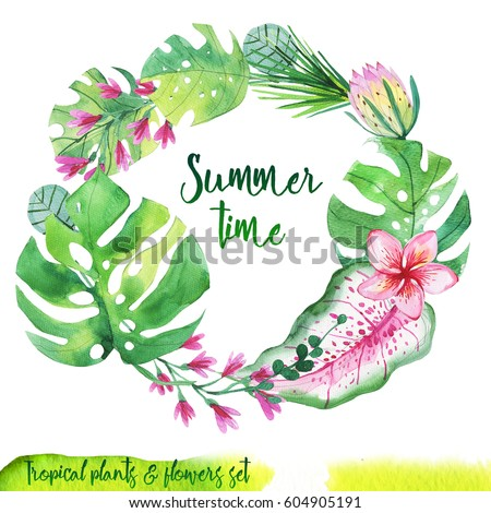 Summer hand-drawn watercolor tropical plant wreath. Aquarelle leaves for background, texture, wrapper pattern, frame, border, invitations card. Greenery color.