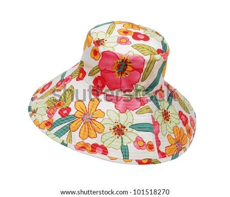 summer hat hat isolated on white background - stock photo