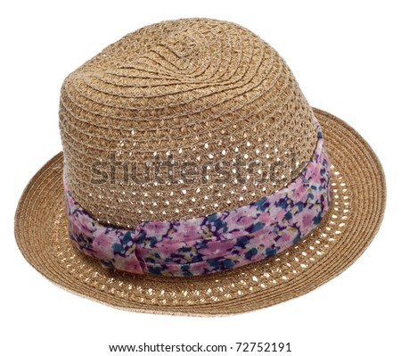 Summer Hat with Floral Ribbon Isolated on White with a Clipping Path.