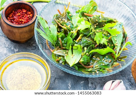 Summer herbal salad.Green salad.Spring salad.Salad purslane, parsley and sesame