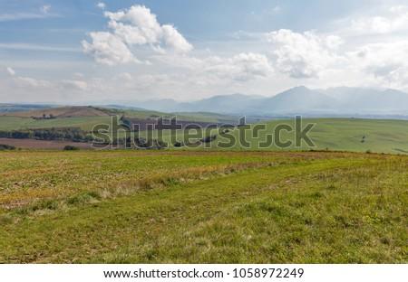 Summer hills landscape close to Liptovsky Trnovec in Slovakia.