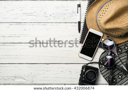 Summer holiday background, Beach accessories on table, Vacation and travel items