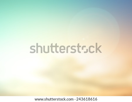 Summer holiday concept: Abstract bokeh flare sunlight with blur greenn and yellow nature sunrise beach background